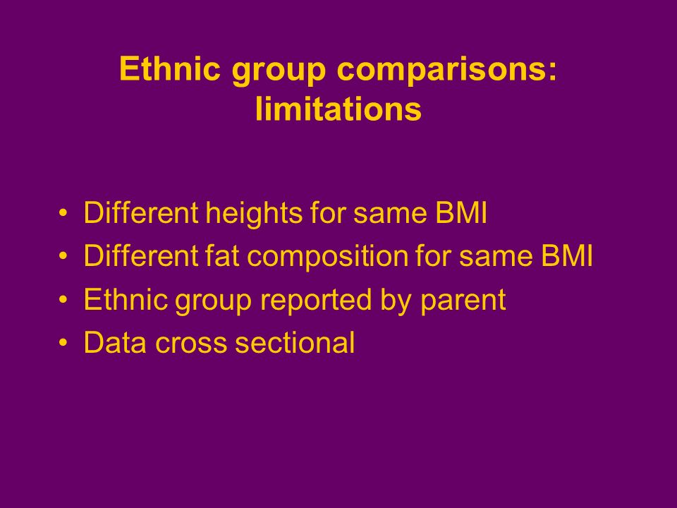 Ethnic group comparisons: limitations Different heights for same BMI Different fat composition for same BMI Ethnic group reported by parent Data cross