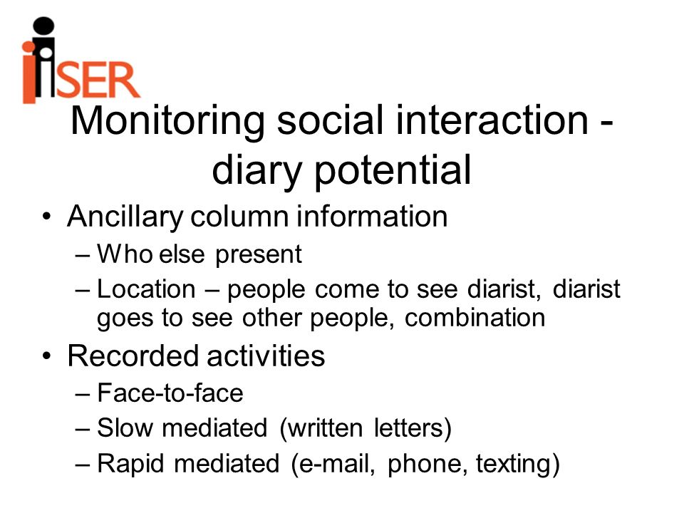 Monitoring social interaction - diary potential Ancillary column information –Who else present –Location – people come to see diarist, diarist goes to see other people, combination Recorded activities –Face-to-face –Slow mediated (written letters) –Rapid mediated (e-mail, phone, texting)