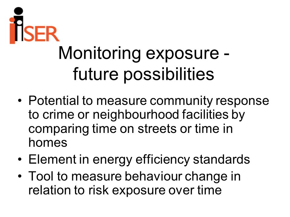 Monitoring exposure - future possibilities Potential to measure community response to crime or neighbourhood facilities by comparing time on streets or time in homes Element in energy efficiency standards Tool to measure behaviour change in relation to risk exposure over time