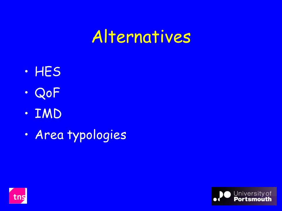 Alternatives HES QoF IMD Area typologies
