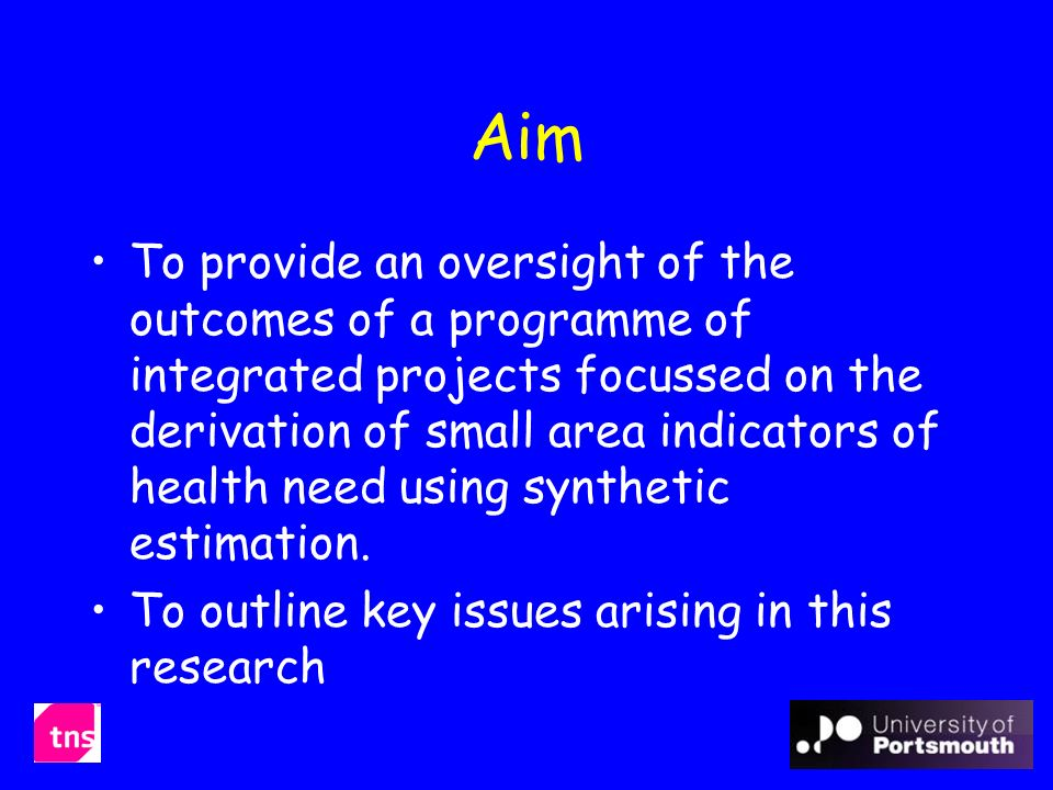 Aim To provide an oversight of the outcomes of a programme of integrated projects focussed on the derivation of small area indicators of health need using synthetic estimation.