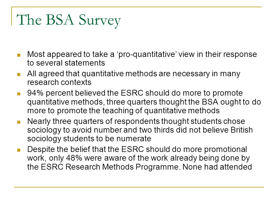 The BSA Survey Most appeared to take a pro-quantitative view in their response to several statements All agreed that quantitative methods are necessary in many research contexts 94% percent believed the ESRC should do more to promote quantitative methods, three quarters thought the BSA ought to do more to promote the teaching of quantitative methods Nearly three quarters of respondents thought students chose sociology to avoid number and two thirds did not believe British sociology students to be numerate Despite the belief that the ESRC should do more promotional work, only 48% were aware of the work already being done by the ESRC Research Methods Programme.