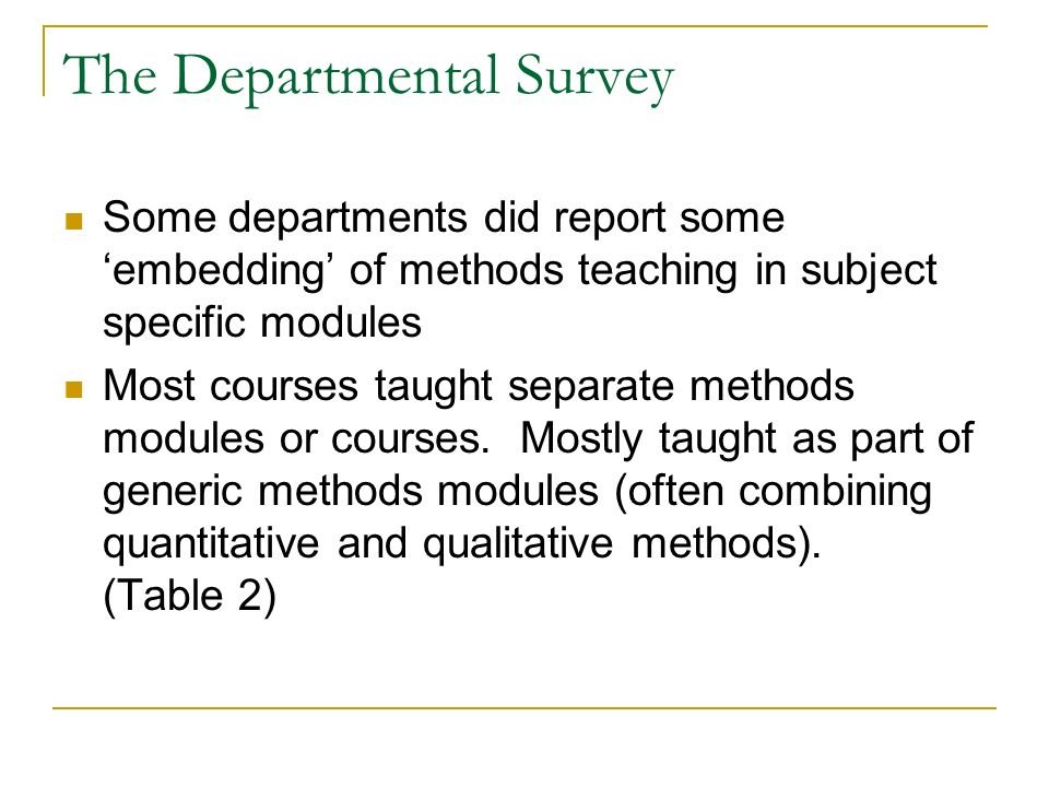The Departmental Survey Some departments did report some embedding of methods teaching in subject specific modules Most courses taught separate methods modules or courses.