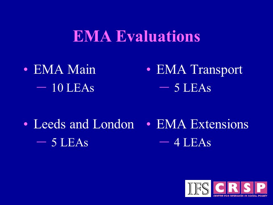 EMA Evaluations EMA Main – 10 LEAs Leeds and London – 5 LEAs EMA Transport – 5 LEAs EMA Extensions – 4 LEAs