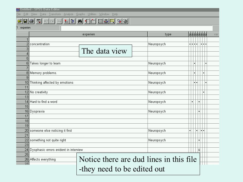 The data view Notice there are dud lines in this file -they need to be edited out