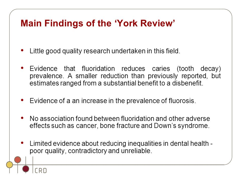 Main Findings of the York Review Little good quality research undertaken in this field.