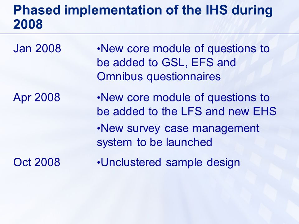 Phased implementation of the IHS during 2008 Jan 2008 New core module of questions to be added to GSL, EFS and Omnibus questionnaires Apr 2008 New core module of questions to be added to the LFS and new EHS New survey case management system to be launched Oct 2008 Unclustered sample design