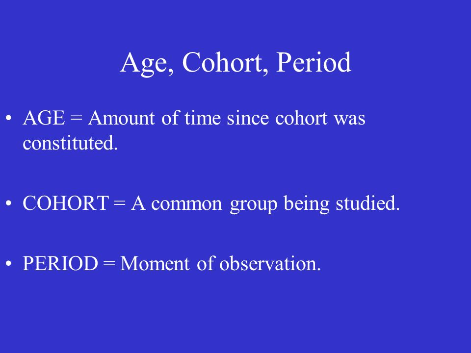 AGE = Amount of time since cohort was constituted.