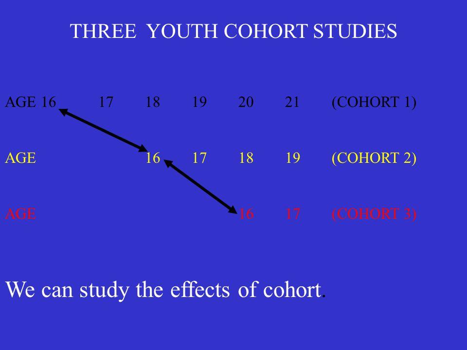 THREE YOUTH COHORT STUDIES AGE 161718192021(COHORT 1) AGE16171819(COHORT 2) AGE1617(COHORT 3) We can study the effects of cohort.