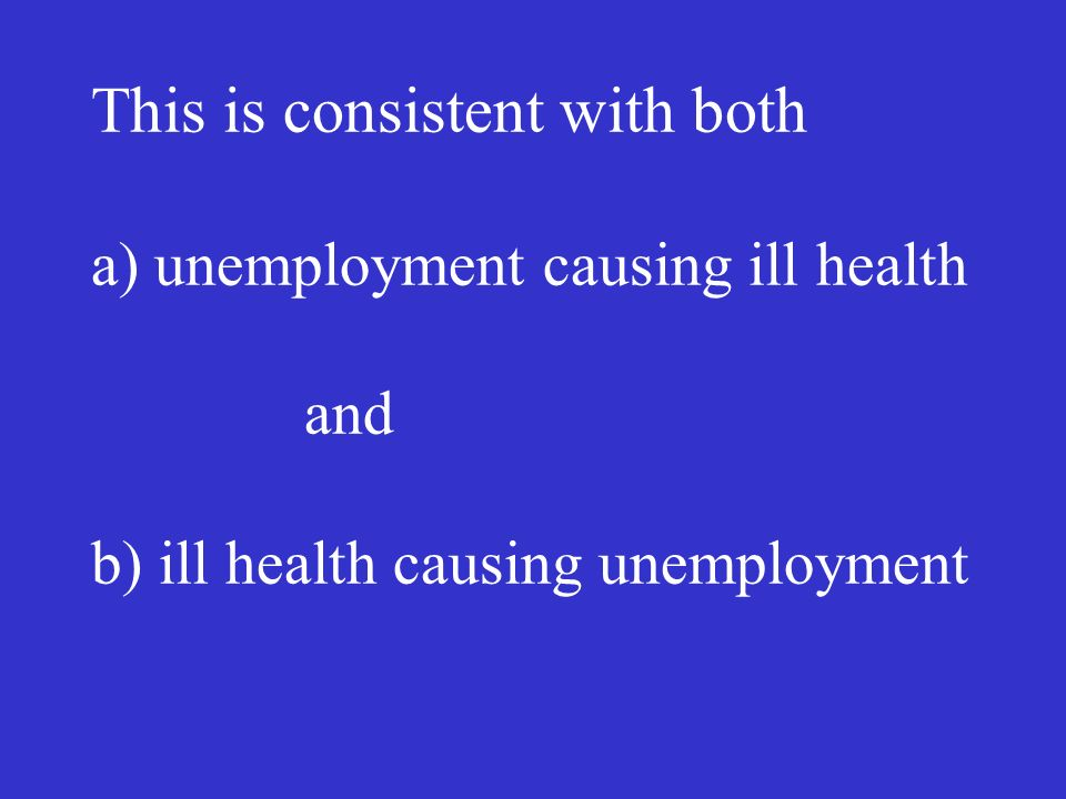 This is consistent with both a) unemployment causing ill health and b) ill health causing unemployment