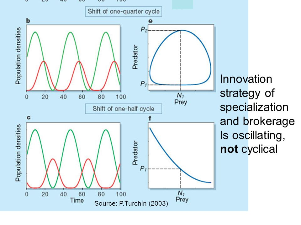 Innovation strategy of specialization and brokerage Is oscillating, not cyclical Source: P.Turchin (2003)