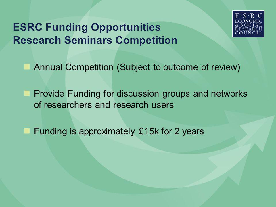 ESRC Funding Opportunities Research Seminars Competition Annual Competition (Subject to outcome of review) Provide Funding for discussion groups and networks of researchers and research users Funding is approximately £15k for 2 years