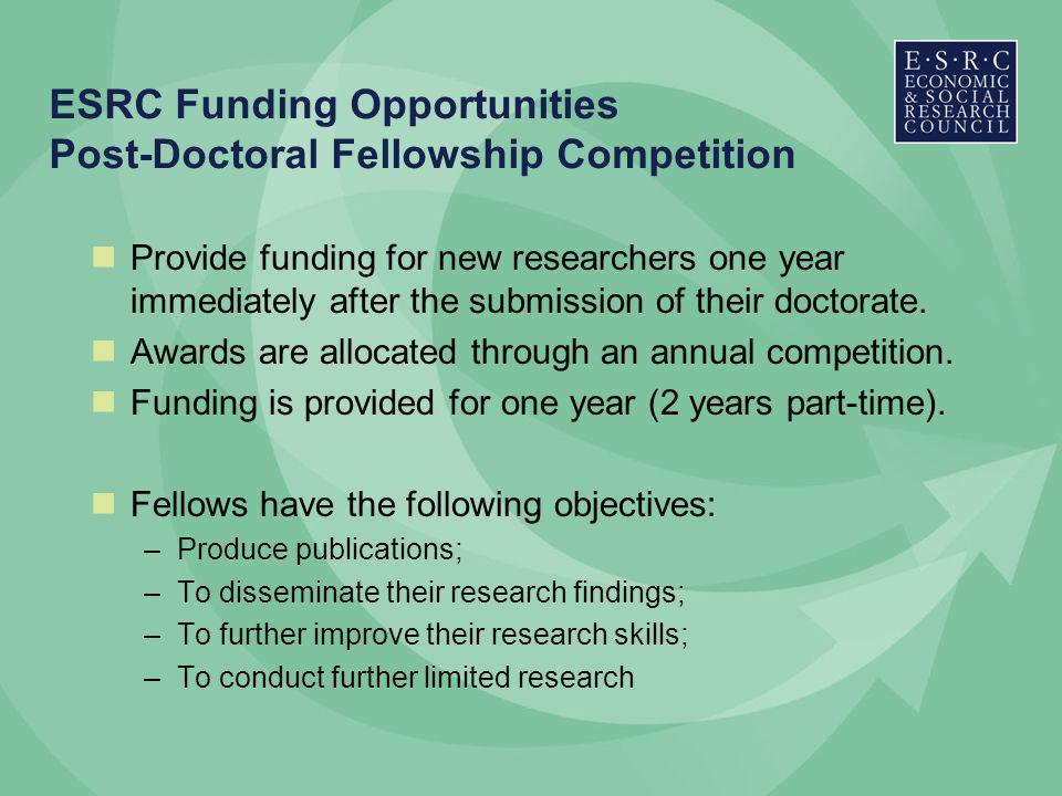 ESRC Funding Opportunities Post-Doctoral Fellowship Competition Provide funding for new researchers one year immediately after the submission of their doctorate.