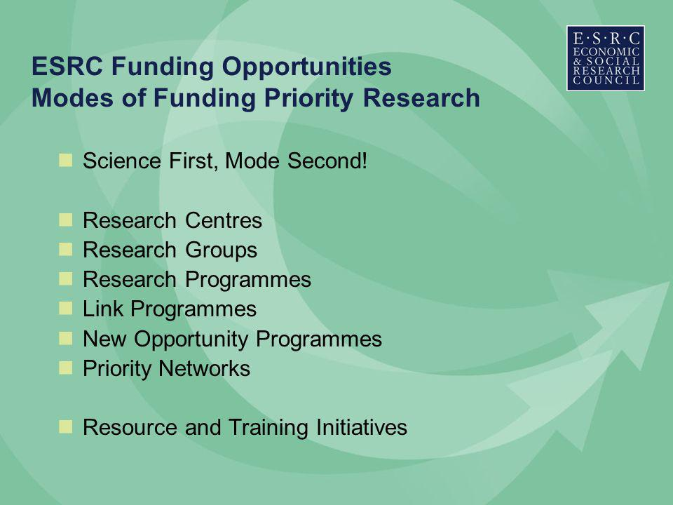 ESRC Funding Opportunities Modes of Funding Priority Research Science First, Mode Second.