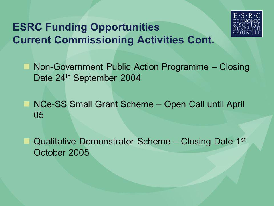 ESRC Funding Opportunities Current Commissioning Activities Cont.