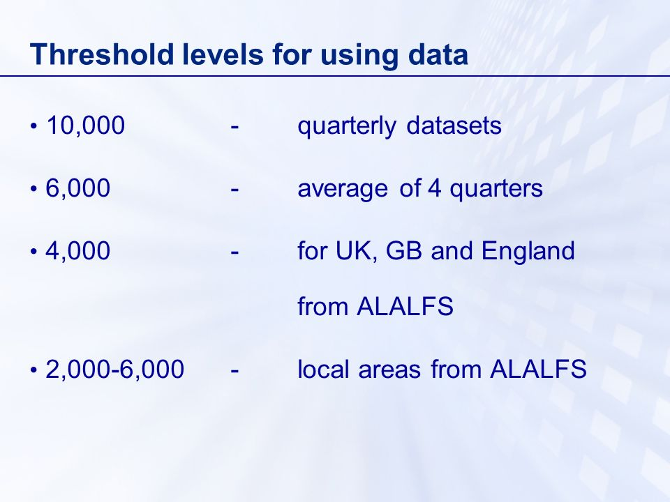 Threshold levels for using data 10,000-quarterly datasets 6,000-average of 4 quarters 4,000-for UK, GB and England from ALALFS 2,000-6,000 -local areas from ALALFS