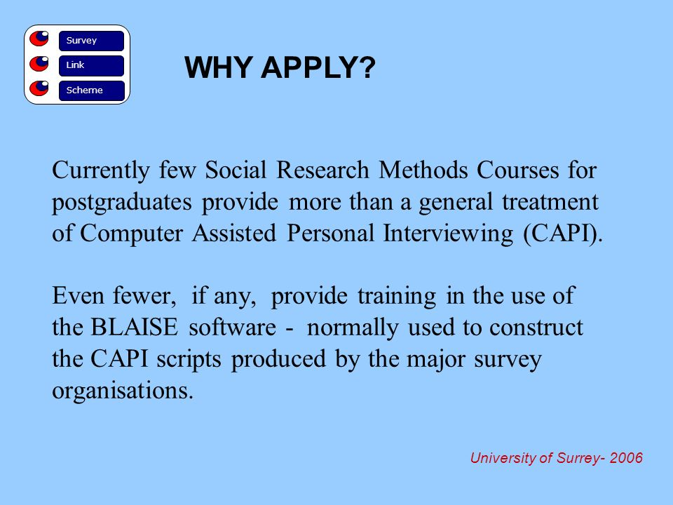 Currently few Social Research Methods Courses for postgraduates provide more than a general treatment of Computer Assisted Personal Interviewing (CAPI).