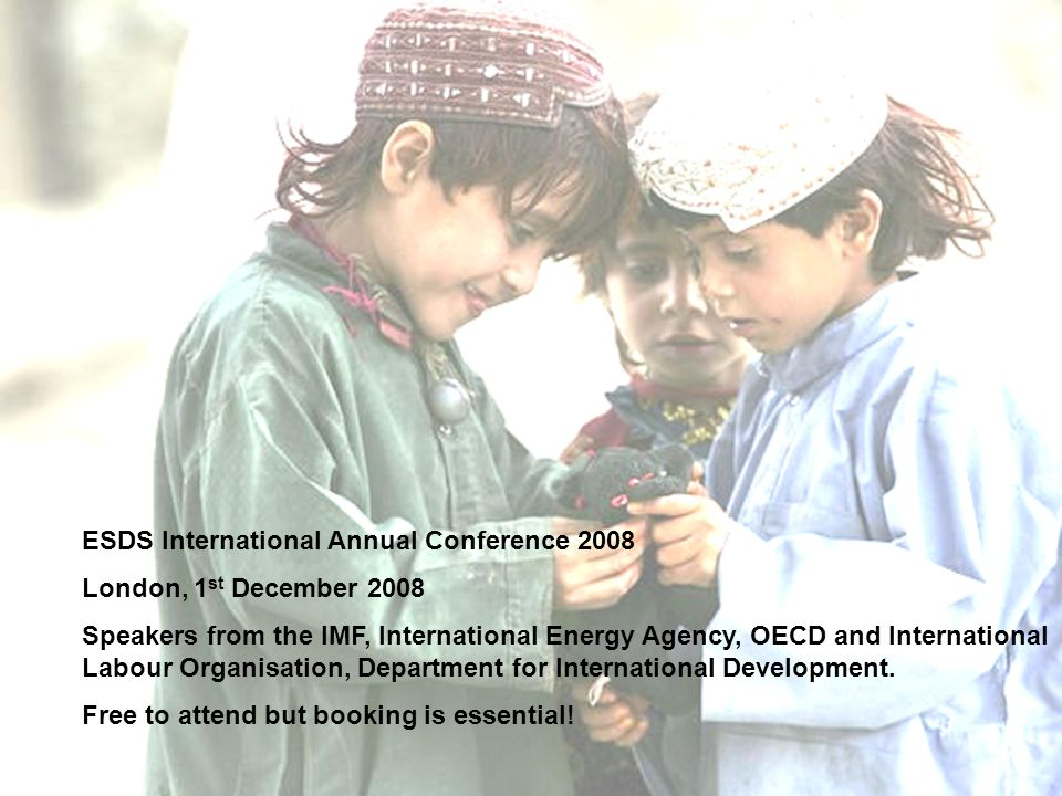 ESDS International Annual Conference 2008 London, 1 st December 2008 Speakers from the IMF, International Energy Agency, OECD and International Labour Organisation, Department for International Development.