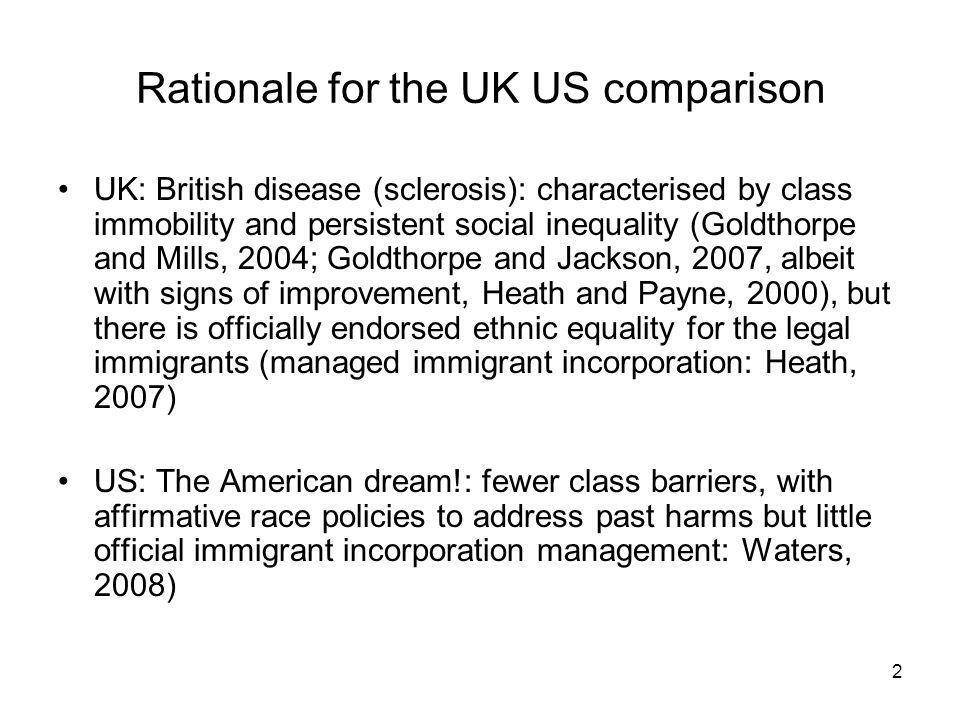 2 Rationale for the UK US comparison UK: British disease (sclerosis): characterised by class immobility and persistent social inequality (Goldthorpe and Mills, 2004; Goldthorpe and Jackson, 2007, albeit with signs of improvement, Heath and Payne, 2000), but there is officially endorsed ethnic equality for the legal immigrants (managed immigrant incorporation: Heath, 2007) US: The American dream!: fewer class barriers, with affirmative race policies to address past harms but little official immigrant incorporation management: Waters, 2008)