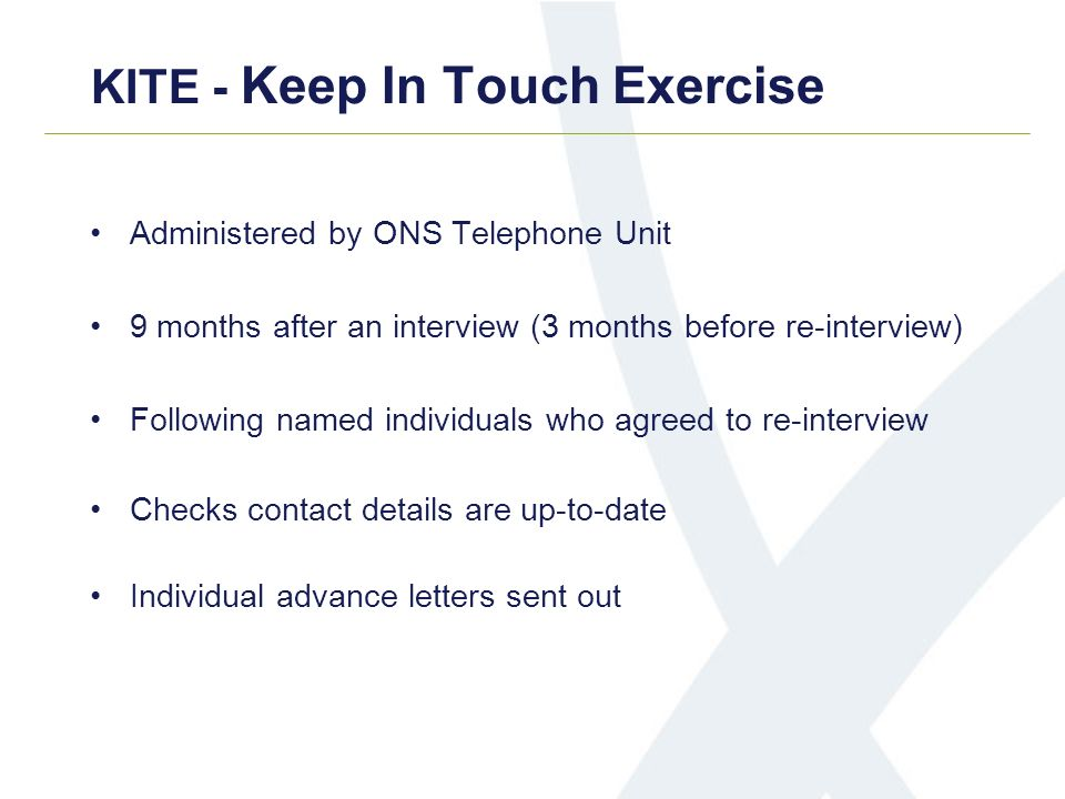 KITE - Keep In Touch Exercise Administered by ONS Telephone Unit 9 months after an interview (3 months before re-interview) Following named individual