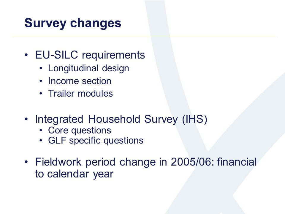 EU-SILC requirements Longitudinal design Income section Trailer modules Integrated Household Survey (IHS) Core questions GLF specific questions Fieldw