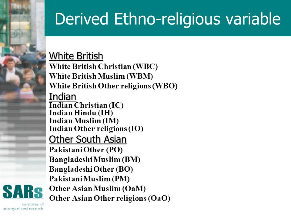Derived Ethno-religious variable White British White British Christian (WBC) White British Muslim (WBM) White British Other religions (WBO)Indian Indian Christian (IC) Indian Hindu (IH) Indian Muslim (IM) Indian Other religions (IO) Other South Asian Pakistani Other (PO) Bangladeshi Muslim (BM) Bangladeshi Other (BO) Pakistani Muslim (PM) Other Asian Muslim (OaM) Other Asian Other religions (OaO)