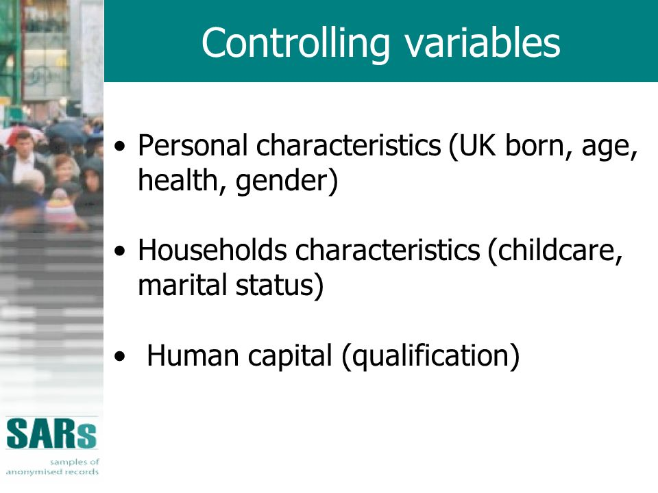 Controlling variables Personal characteristics (UK born, age, health, gender) Households characteristics (childcare, marital status) Human capital (qualification)