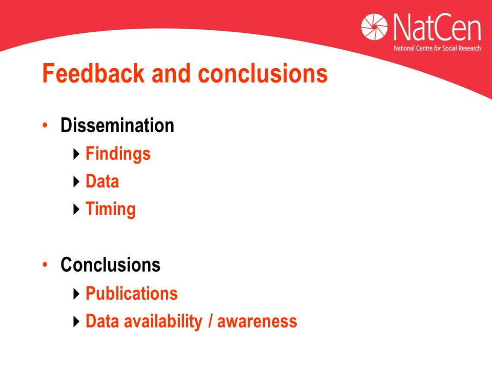 Feedback and conclusions Dissemination Findings Data Timing Conclusions Publications Data availability / awareness