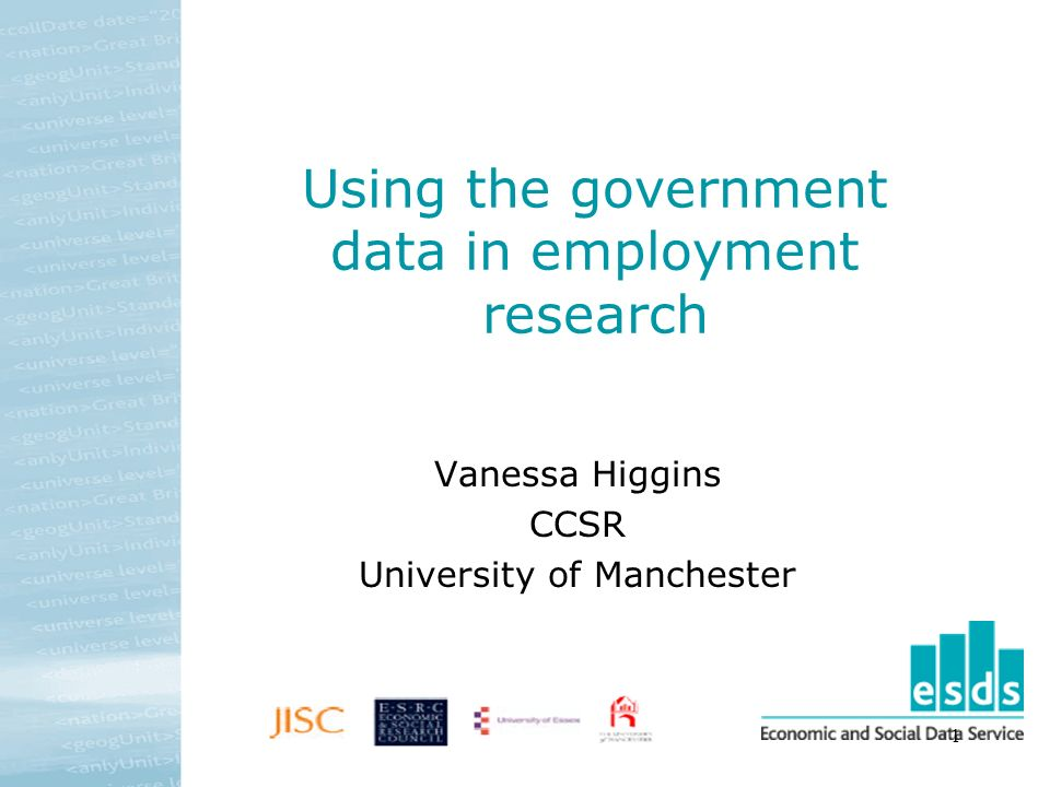 1 Using the government data in employment research Vanessa Higgins CCSR University of Manchester