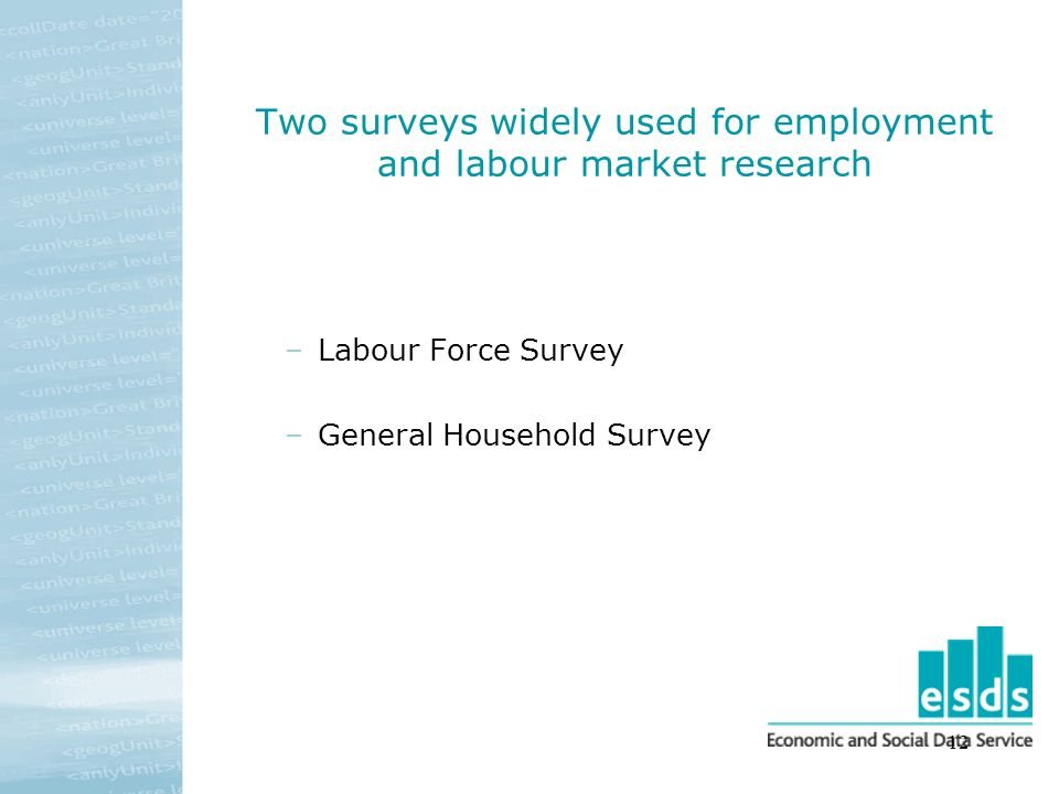 12 Two surveys widely used for employment and labour market research –Labour Force Survey –General Household Survey