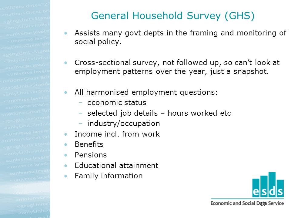 15 General Household Survey (GHS) Assists many govt depts in the framing and monitoring of social policy. Cross-sectional survey, not followed up, so