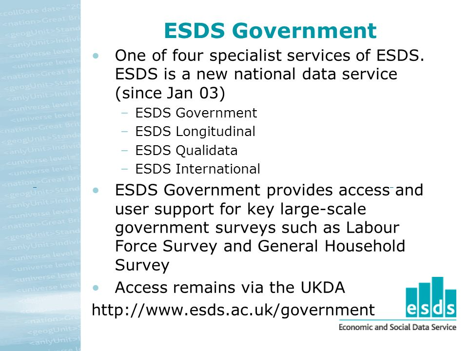 ESDS Government One of four specialist services of ESDS.