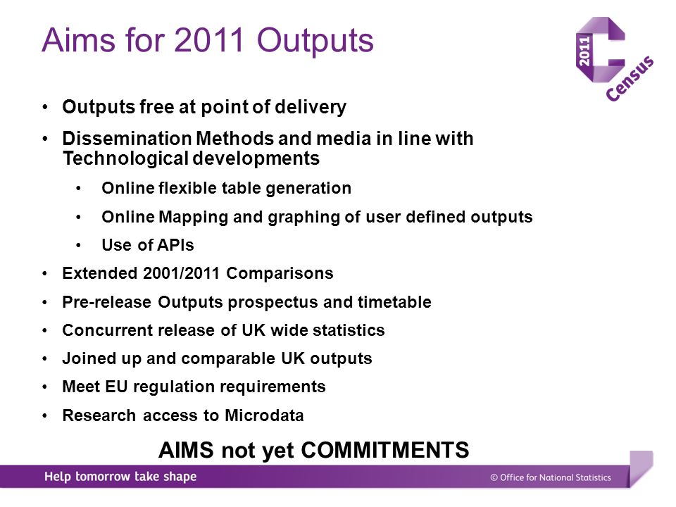 Aims for 2011 Outputs Outputs free at point of delivery Dissemination Methods and media in line with Technological developments Online flexible table generation Online Mapping and graphing of user defined outputs Use of APIs Extended 2001/2011 Comparisons Pre-release Outputs prospectus and timetable Concurrent release of UK wide statistics Joined up and comparable UK outputs Meet EU regulation requirements Research access to Microdata AIMS not yet COMMITMENTS