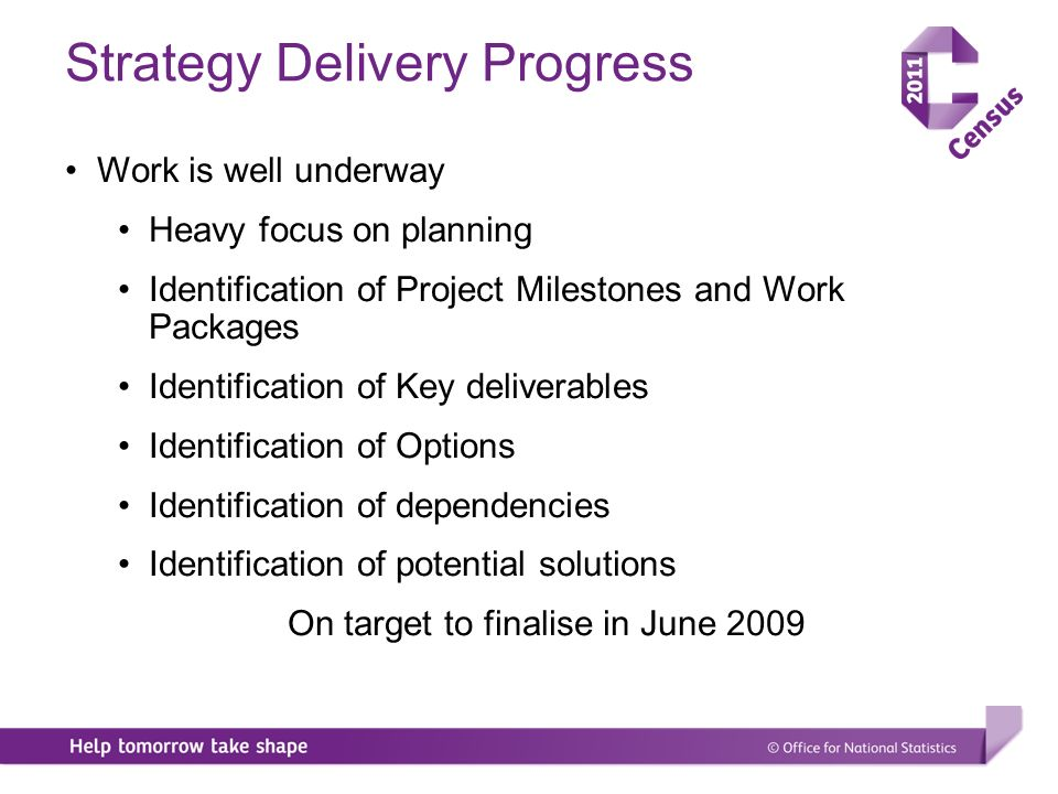 Strategy Delivery Progress Work is well underway Heavy focus on planning Identification of Project Milestones and Work Packages Identification of Key deliverables Identification of Options Identification of dependencies Identification of potential solutions On target to finalise in June 2009
