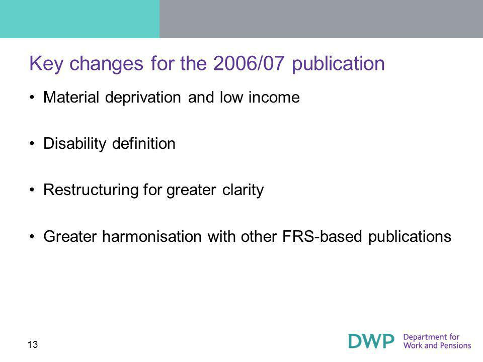 13 Key changes for the 2006/07 publication Material deprivation and low income Disability definition Restructuring for greater clarity Greater harmonisation with other FRS-based publications
