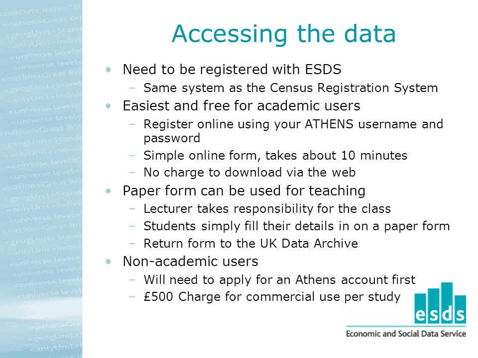 Accessing the data Need to be registered with ESDS –Same system as the Census Registration System Easiest and free for academic users –Register online using your ATHENS username and password –Simple online form, takes about 10 minutes –No charge to download via the web Paper form can be used for teaching –Lecturer takes responsibility for the class –Students simply fill their details in on a paper form –Return form to the UK Data Archive Non-academic users –Will need to apply for an Athens account first –£500 Charge for commercial use per study