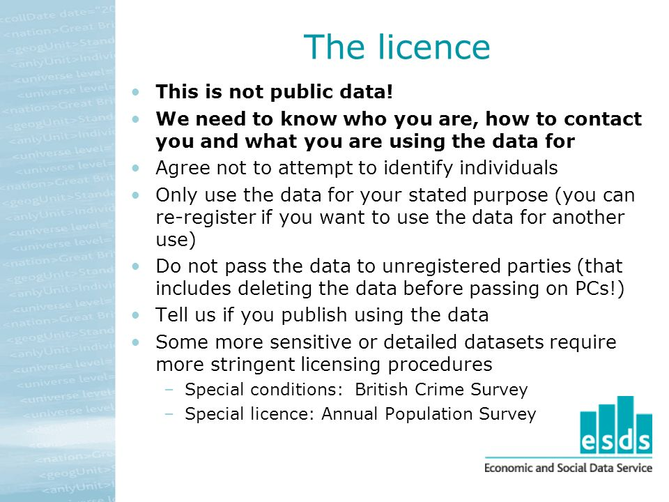 The licence This is not public data.