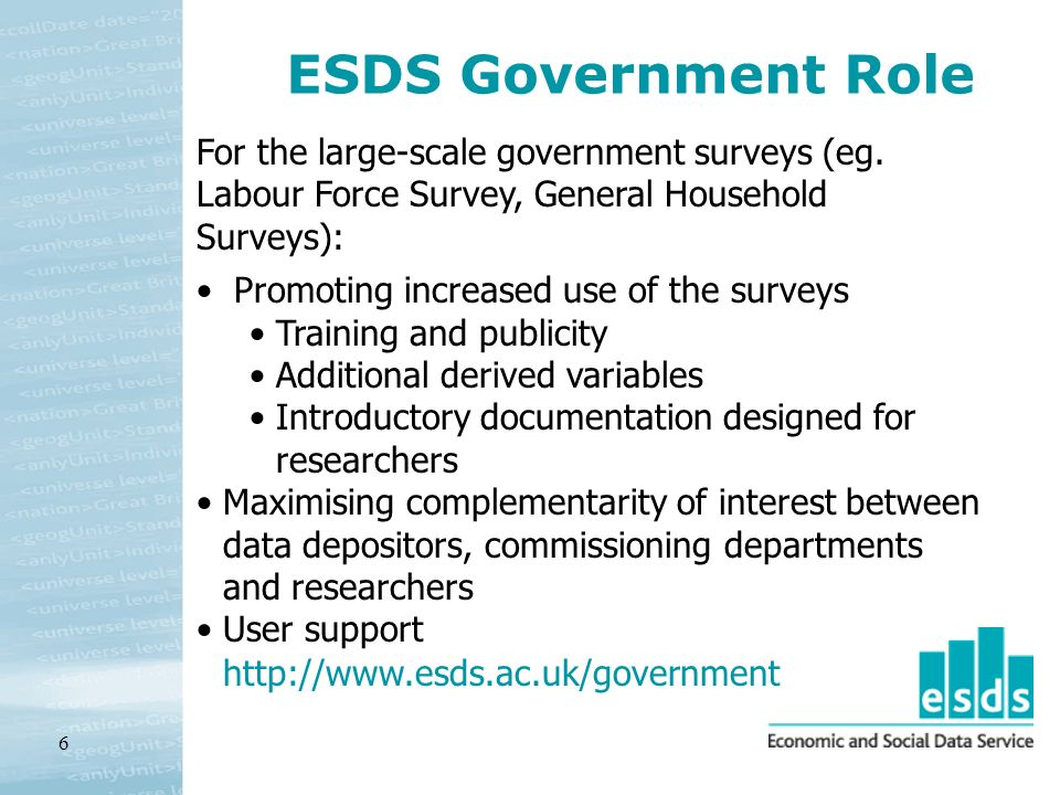6 ESDS Government Role Promoting increased use of the surveys Training and publicity Additional derived variables Introductory documentation designed for researchers Maximising complementarity of interest between data depositors, commissioning departments and researchers User support For the large-scale government surveys (eg.