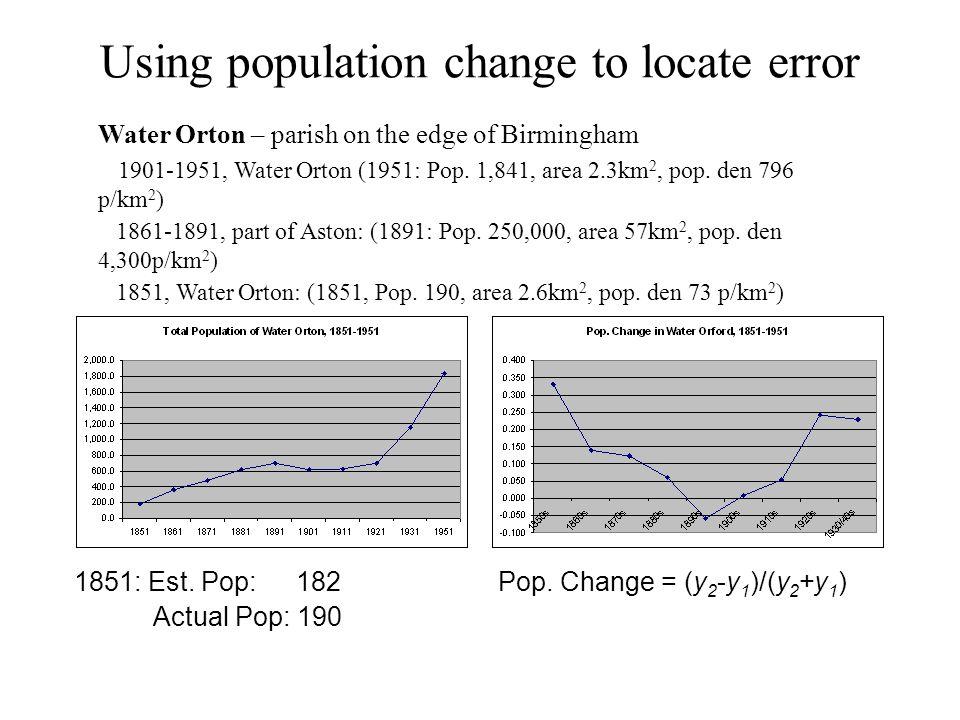 Using population change to locate error Water Orton – parish on the edge of Birmingham 1901-1951, Water Orton (1951: Pop.