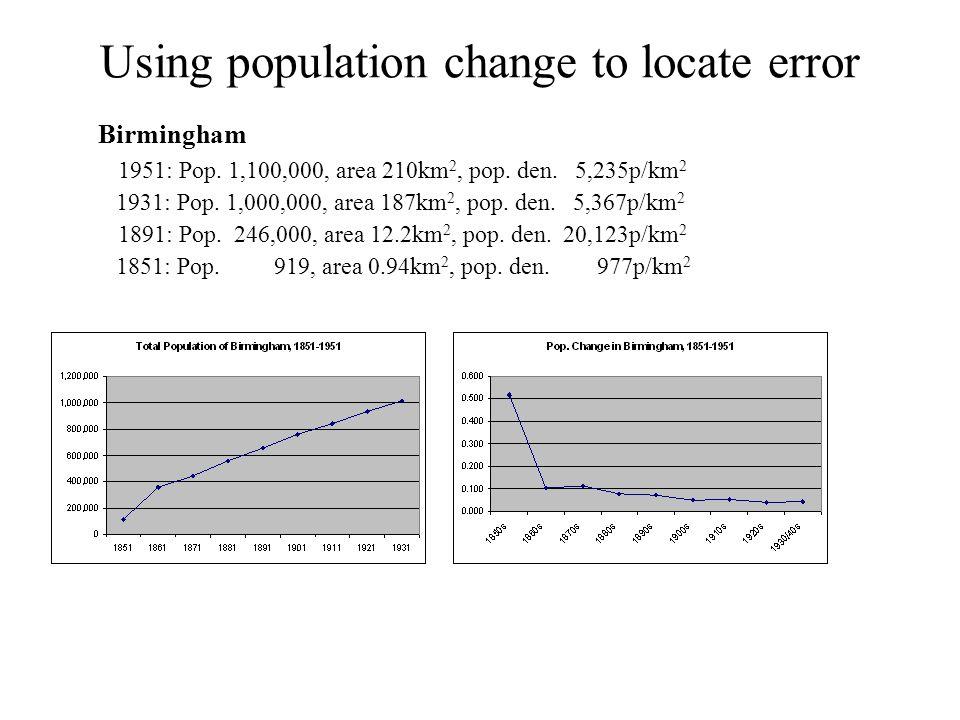Using population change to locate error Birmingham 1951: Pop.