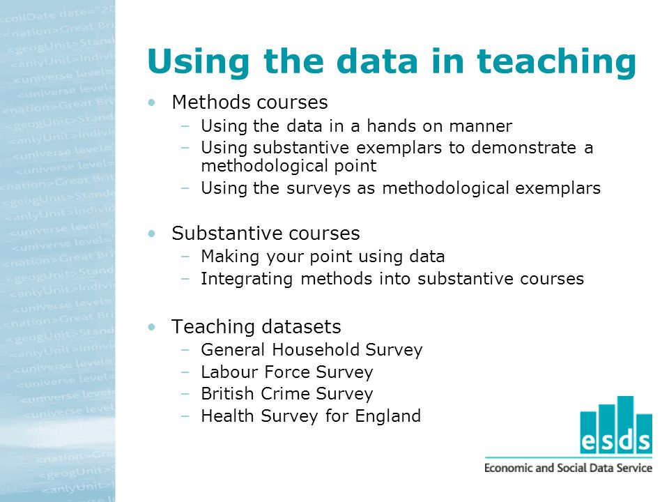 Using the data in teaching Methods courses –Using the data in a hands on manner –Using substantive exemplars to demonstrate a methodological point –Using the surveys as methodological exemplars Substantive courses –Making your point using data –Integrating methods into substantive courses Teaching datasets –General Household Survey –Labour Force Survey –British Crime Survey –Health Survey for England