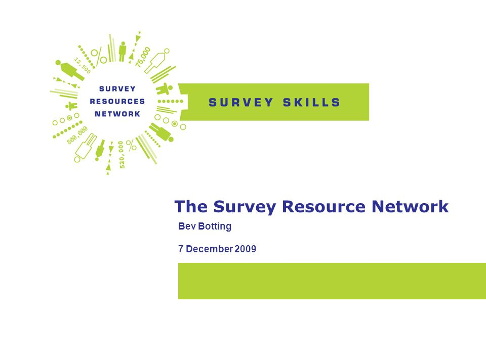 Introduction Awarded £1.1m by the ESRC in 2008 to establish the Survey Resources Network (SRN), A central bank of survey resources to support the work of the UKs research community and raise the standards of social science research.