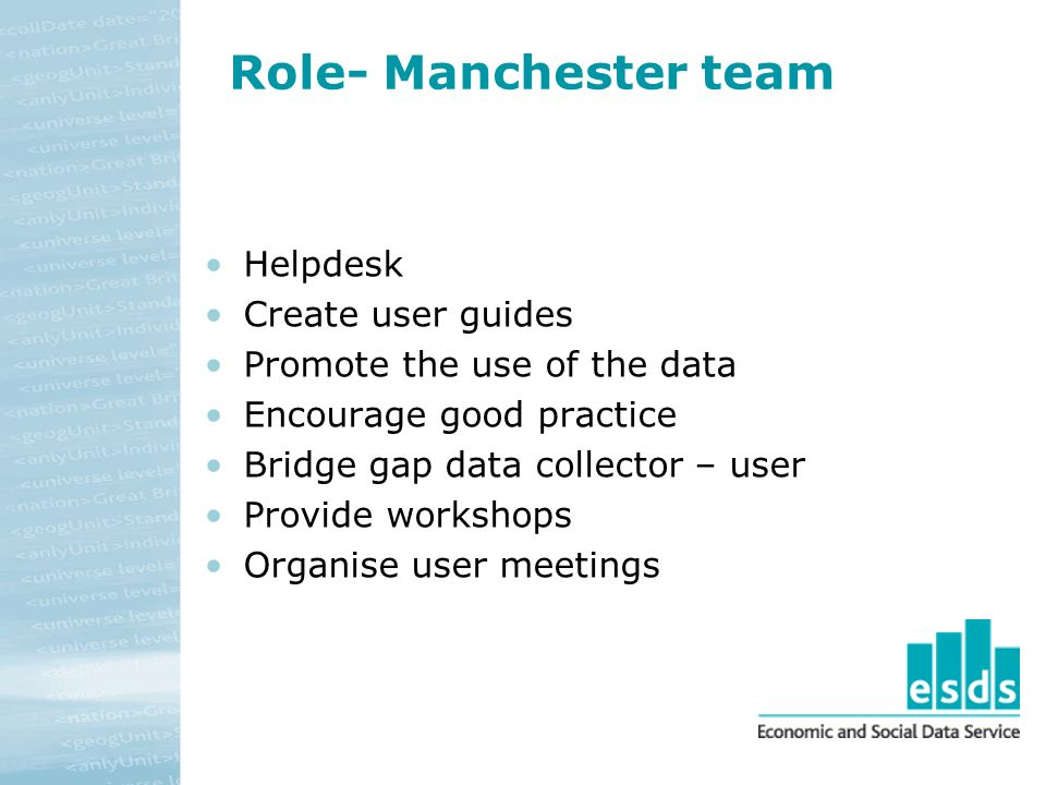 Role- Manchester team Helpdesk Create user guides Promote the use of the data Encourage good practice Bridge gap data collector – user Provide workshops Organise user meetings
