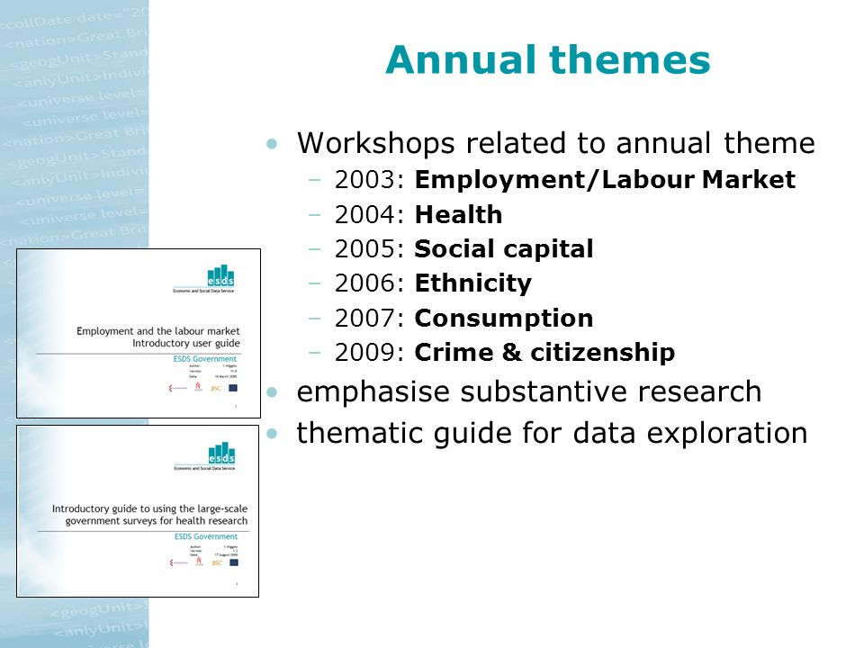 Annual themes Workshops related to annual theme –2003: Employment/Labour Market –2004: Health –2005: Social capital –2006: Ethnicity –2007: Consumption –2009: Crime & citizenship emphasise substantive research thematic guide for data exploration