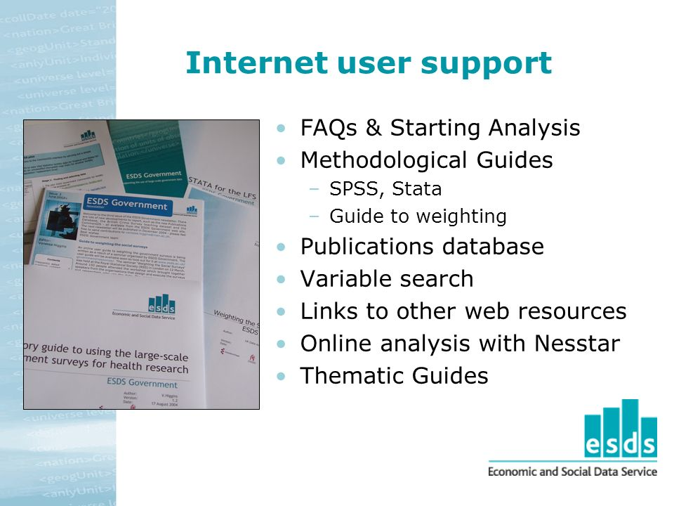 Internet user support FAQs & Starting Analysis Methodological Guides –SPSS, Stata –Guide to weighting Publications database Variable search Links to other web resources Online analysis with Nesstar Thematic Guides