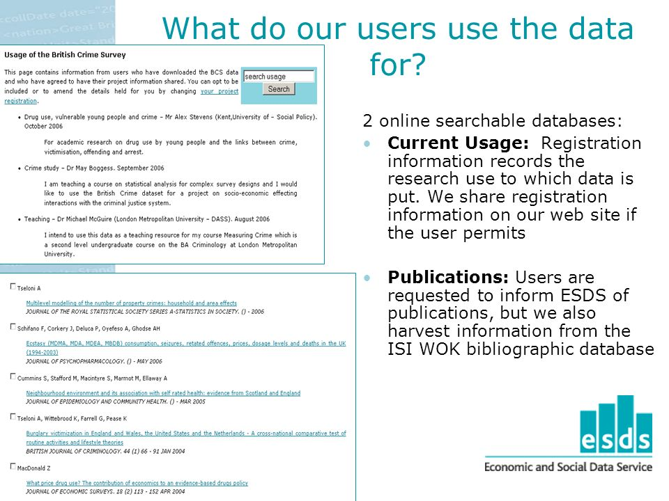 What do our users use the data for.