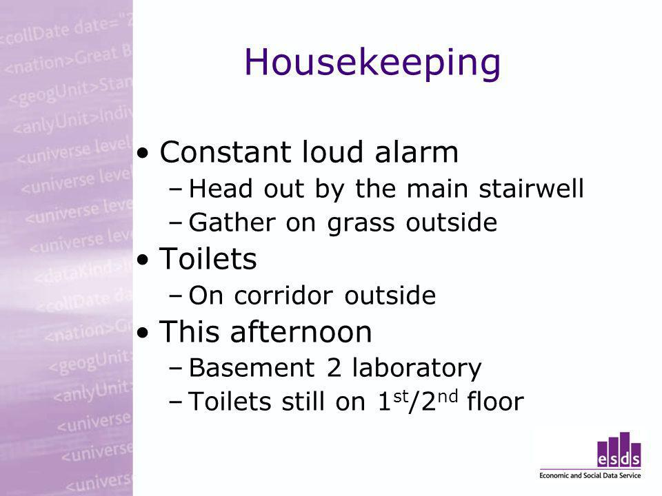 Housekeeping Constant loud alarm –Head out by the main stairwell –Gather on grass outside Toilets –On corridor outside This afternoon –Basement 2 laboratory –Toilets still on 1 st /2 nd floor