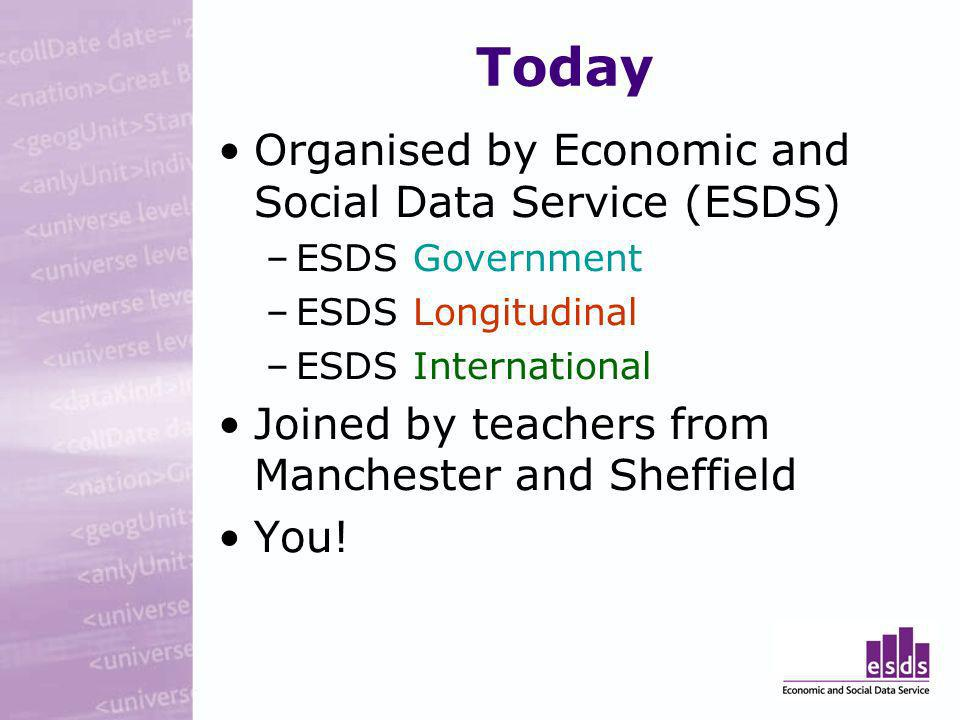 Today Organised by Economic and Social Data Service (ESDS) –ESDS Government –ESDS Longitudinal –ESDS International Joined by teachers from Manchester and Sheffield You!