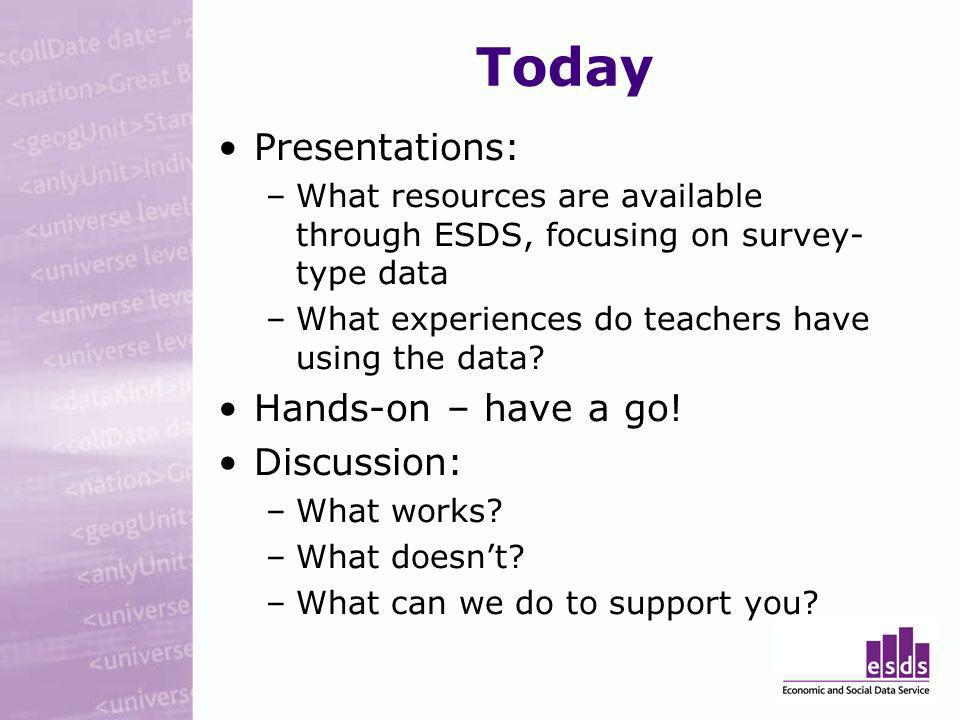 Today Presentations: –What resources are available through ESDS, focusing on survey- type data –What experiences do teachers have using the data.