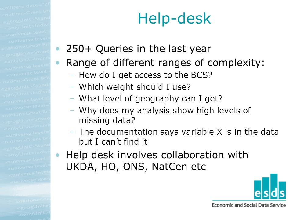 Help-desk 250+ Queries in the last year Range of different ranges of complexity: –How do I get access to the BCS.